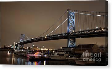 Ben Franklin Bridge Docks Canvas Print by Mark Ayzenberg
