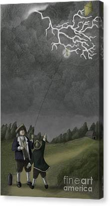 Ben Franklin Kite And Key Experiment Canvas Print by Spencer Sutton
