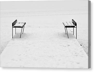 Benches On A Dock Canvas Print by Jouko Lehto