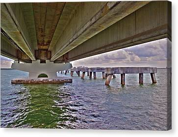 Canvas Print featuring the photograph Beneath Sanibel Bridge by Timothy Lowry