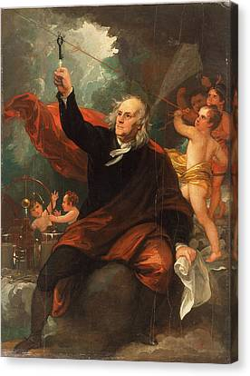 Benjamin Franklin Drawing Electricity From The Sky Canvas Print by Celestial Images