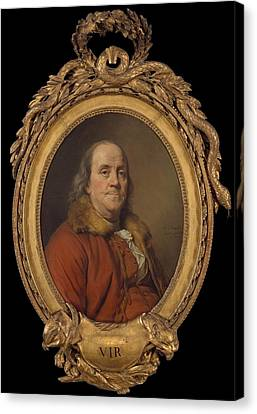 Benjamin Franklin Canvas Print by Joseph Siffred Duplessis