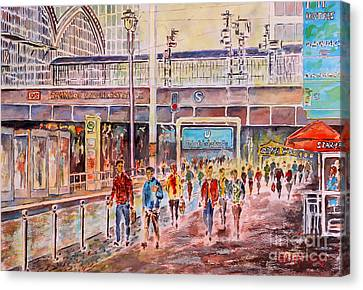 Canvas Print featuring the painting Berlin Frederic Street Station by Alfred Motzer