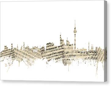 Berlin Germany Skyline Sheet Music Cityscape Canvas Print by Michael Tompsett