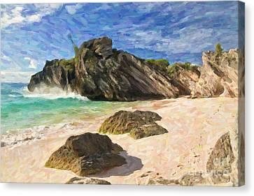 Canvas Print featuring the digital art Bermuda Beach by Verena Matthew