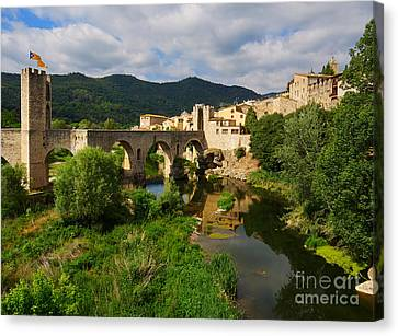Besalu A Medieval Town In Catalonia Spain Canvas Print by Louise Heusinkveld