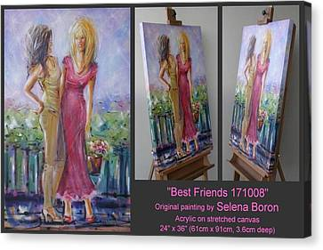 Canvas Print featuring the painting Best Friends 171008 by Selena Boron
