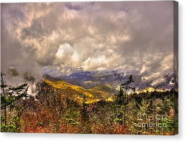 Smokey Mountains Canvas Print - Between The Clouds Blue Ridge Parkway North Carolina by Reid Callaway