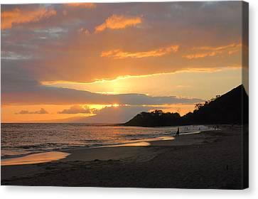 Big Beach At Sunset Canvas Print by Stephen  Vecchiotti