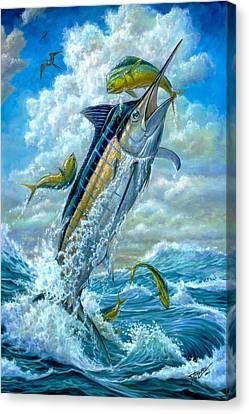 Big Jump Blue Marlin With Mahi Mahi Canvas Print