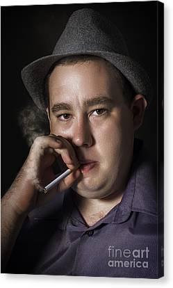 Big Mob Boss Smoking Cigarette Dark Background Canvas Print by Jorgo Photography - Wall Art Gallery