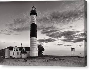 Big Sable Point Lighthouse In Black And White Canvas Print