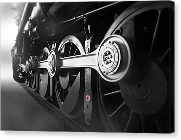 Train Tracks Canvas Print - Big Wheels by Mike McGlothlen