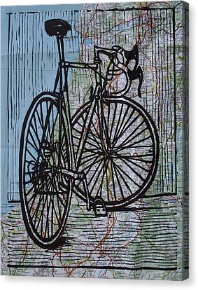 Bike 4 On Map Canvas Print by William Cauthern