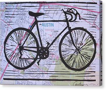 Bike 8 On Map Canvas Print by William Cauthern