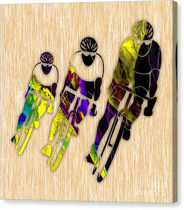 Bike Racing Canvas Print by Marvin Blaine