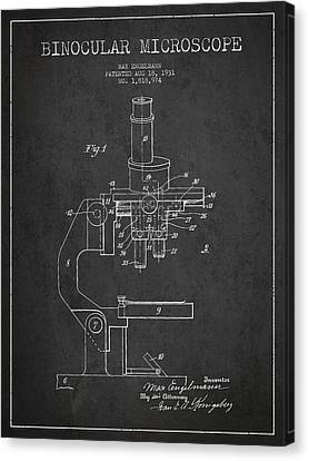 Binocular Microscope Patent Drawing From 1931 Canvas Print by Aged Pixel