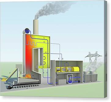 Combusting Canvas Print - Biomass-fired Power Station by Science Photo Library