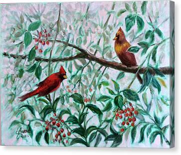 Birds In Our Garden Canvas Print by Laila Awad Jamaleldin