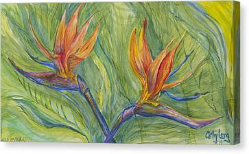 Canvas Print featuring the painting Birds Of Paradise by Cathy Long