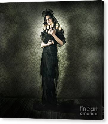 Black Fashion Model In Dark Vintage Haunted House Canvas Print