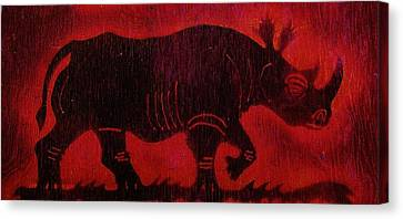 Canvas Print featuring the pyrography Black Rhino by Larry Campbell