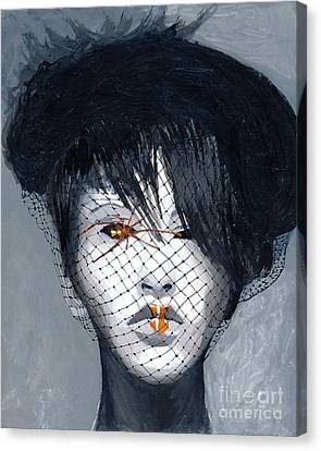 Canvas Print featuring the painting Black Widow by Denise Deiloh