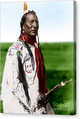 Blackfoot Man With Braided Sweet Grass Ropes Canvas Print by Celestial Images