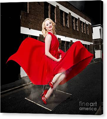 Blond Marilyn Monroe Pinup Girl In Retro Dress Canvas Print by Jorgo Photography - Wall Art Gallery