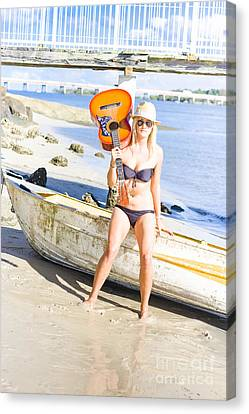 Blonde Female Traveling Entertainer At Beach Canvas Print by Jorgo Photography - Wall Art Gallery