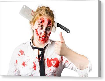 Survive Canvas Print - Bloody Woman With Cleaver In Head by Jorgo Photography - Wall Art Gallery