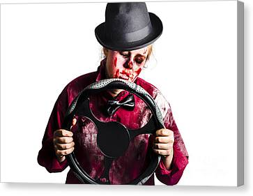 Drain Canvas Print - Bloody Woman With Steering Wheel by Jorgo Photography - Wall Art Gallery