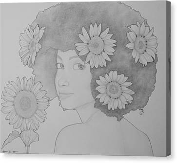 Blooming Girl Sunflower  Canvas Print by Aaron El-Amin
