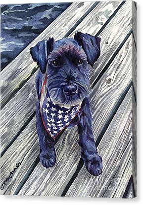 Blue Black Dog On Pier Canvas Print