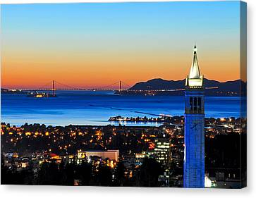 Blue Campanile And Golden Gate At Sunset Canvas Print