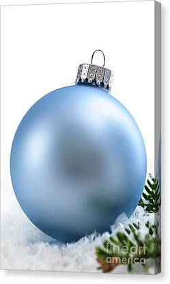Pine Needles Canvas Print - Blue Christmas Bauble by Elena Elisseeva