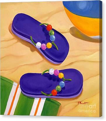 Beach Pails Canvas Print - Blue Flip Flops by Paul Brent