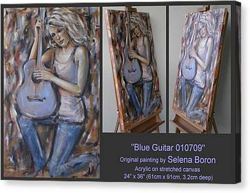 Canvas Print featuring the painting Blue Guitar 010709 by Selena Boron