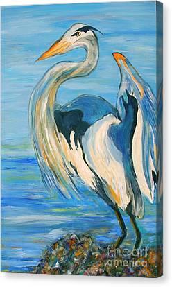 Blue Heron II Canvas Print by Ellen Anthony