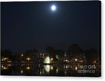 Canvas Print featuring the digital art Blue Moon Over Fountain Lake by Kelvin Booker