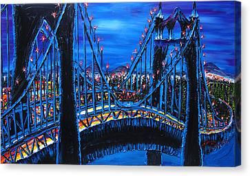 Blue Night Of St. Johns Bridge 12 Canvas Print by Portland Art Creations