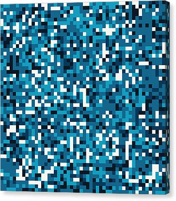 Blue Pixel Art Canvas Print by Mike Taylor