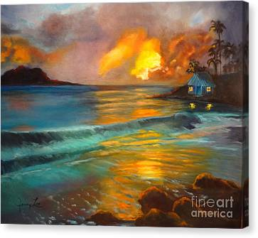 Canvas Print featuring the painting Blue Sunset by Jenny Lee