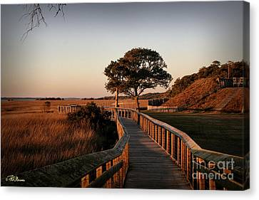 Boardwalk At Fort Fisher Canvas Print by Phil Mancuso