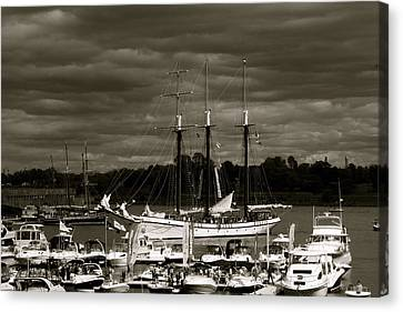 Boat On The River Canvas Print by Jocelyne Choquette