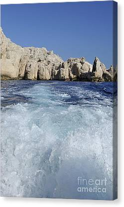 Boat Wake By Riou Island Canvas Print by Sami Sarkis