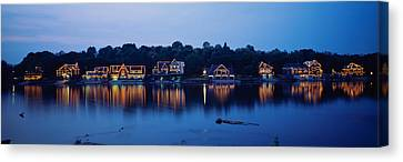 Boathouse Row Lit Up At Dusk Canvas Print by Panoramic Images