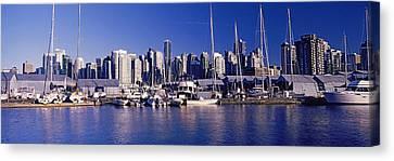 Boats At A Marina, Vancouver, British Canvas Print by Panoramic Images