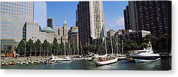 Boats At North Cove Yacht Harbor, New Canvas Print by Panoramic Images