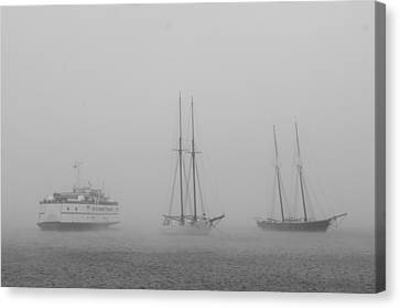 Boats In Fog Canvas Print